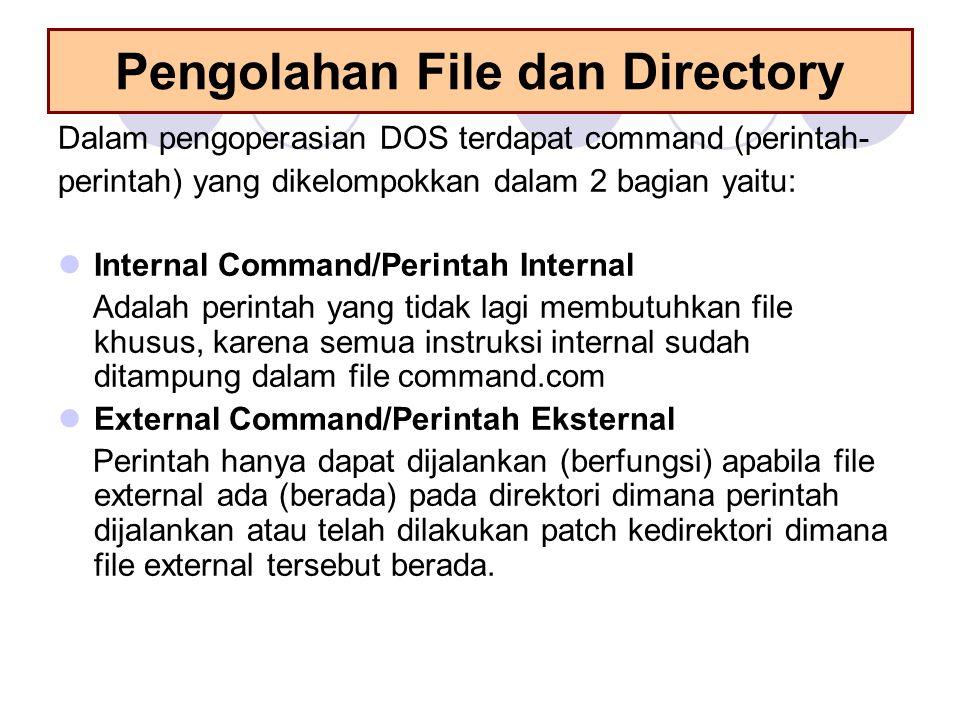 Pengolahan File dan Directory Dalam pengoperasian DOS terdapat command (perintah- perintah) yang dikelompokkan dalam 2 bagian yaitu:  Internal Comman
