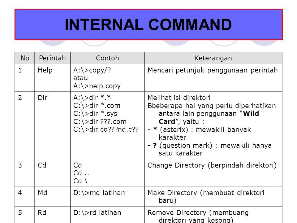 INTERNAL COMMAND 7RenA:/>ren latihan.doc training.doc A:/>ren diskusi.exe kelompok.exe Mengubah nama file atau direktori 8DelA:\>del prince.exe A:\>del *.bak A:\>del *.doc A:\>del *.* Menghapus file 9TypeA:\>type latihan.txt A:\>type sys.com A:\>type io.sys Melihat isi suatu file system dan ditampilkan dalam bahasa mesin.