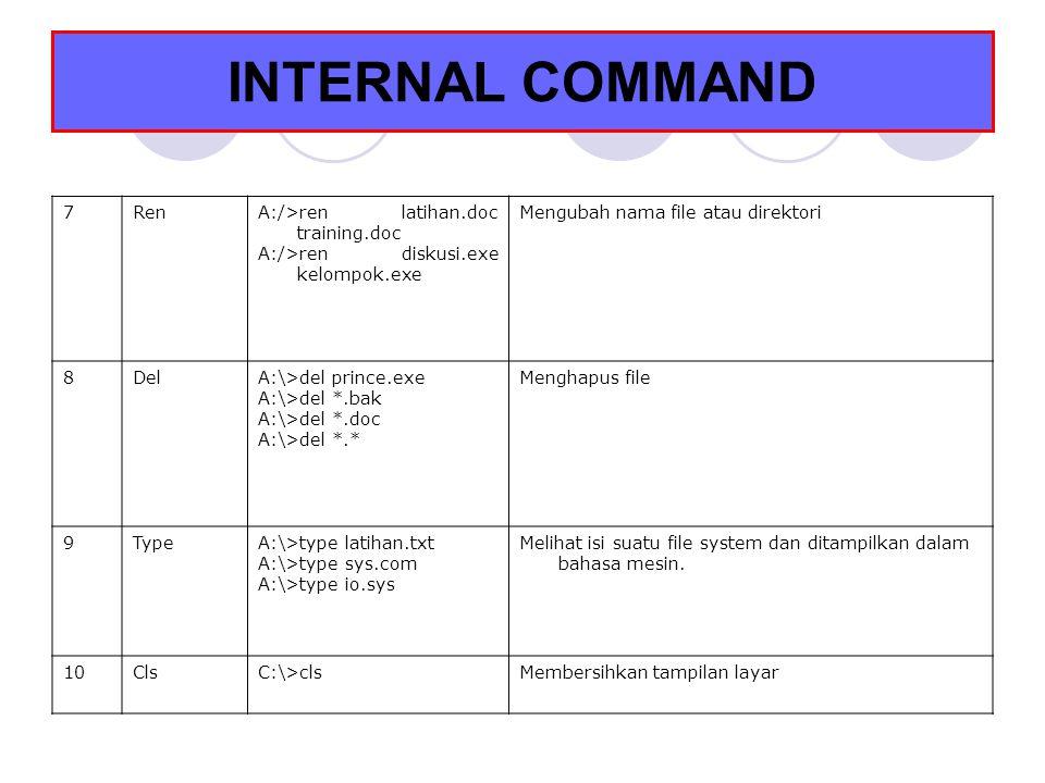 INTERNAL COMMAND 7RenA:/>ren latihan.doc training.doc A:/>ren diskusi.exe kelompok.exe Mengubah nama file atau direktori 8DelA:\>del prince.exe A:\>de