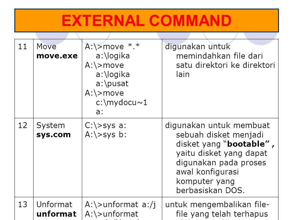 EXTERNAL COMMAND 11Move move.exe A:\>move *.* a:\logika A:\>move a:\logika a:\pusat A:\>move c:\mydocu~1 a: digunakan untuk memindahkan file dari satu