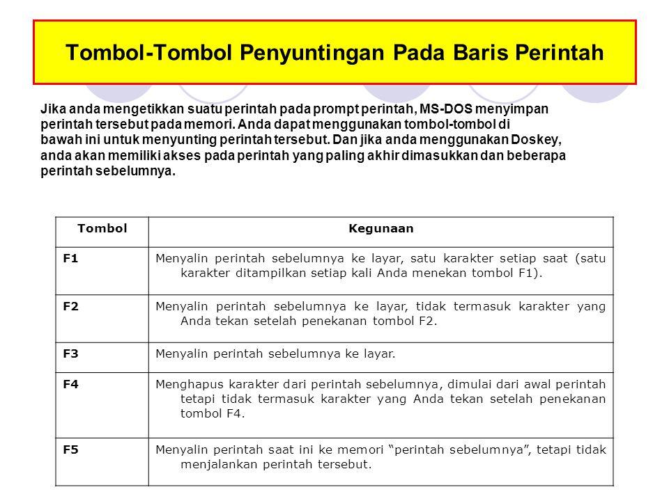 Tombol-Tombol Penyuntingan Pada Baris Perintah F6Memberikan karakter Ctrl+Z ( ^ Z) pada baris perintah.