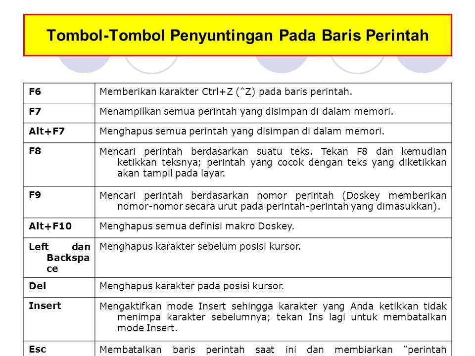 Tombol-Tombol Penyuntingan Pada Baris Perintah F6Memberikan karakter Ctrl+Z ( ^ Z) pada baris perintah. F7Menampilkan semua perintah yang disimpan di