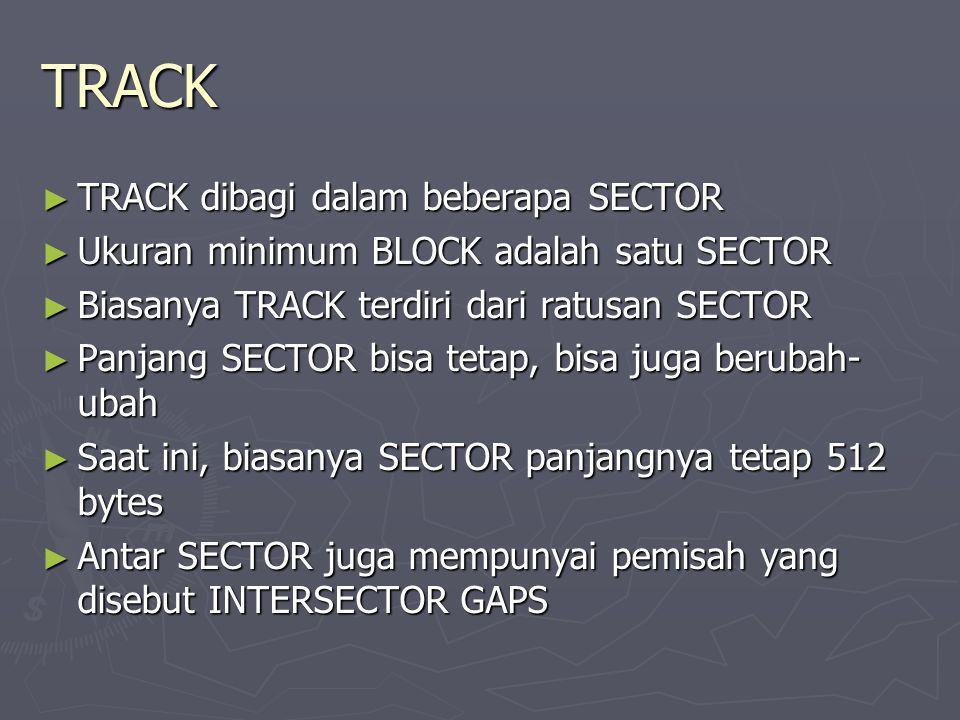 TRACK ► TRACK dibagi dalam beberapa SECTOR ► Ukuran minimum BLOCK adalah satu SECTOR ► Biasanya TRACK terdiri dari ratusan SECTOR ► Panjang SECTOR bis
