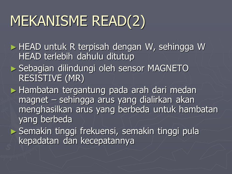 MEKANISME READ(2) ► HEAD untuk R terpisah dengan W, sehingga W HEAD terlebih dahulu ditutup ► Sebagian dilindungi oleh sensor MAGNETO RESISTIVE (MR) ►
