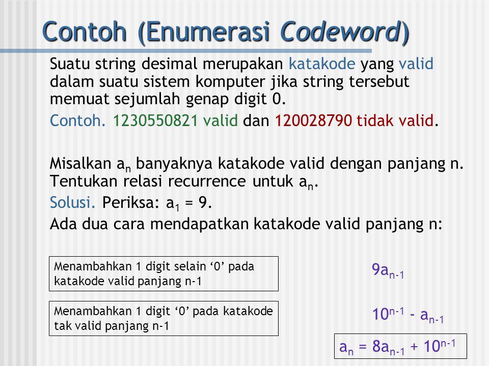 Contoh (Enumerasi Codeword) Suatu string desimal merupakan katakode yang valid dalam suatu sistem komputer jika string tersebut memuat sejumlah genap