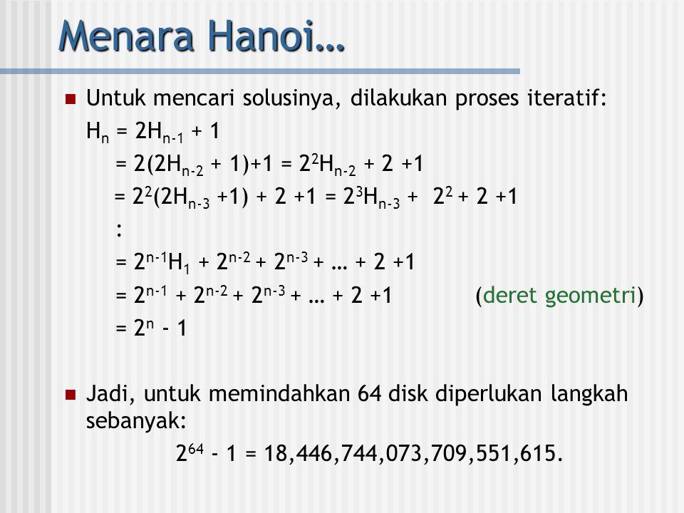 Menara Hanoi…  Untuk mencari solusinya, dilakukan proses iteratif: H n = 2H n-1 + 1 = 2(2H n-2 + 1)+1 = 2 2 H n-2 + 2 +1 = 2 2 (2H n-3 +1) + 2 +1 = 2