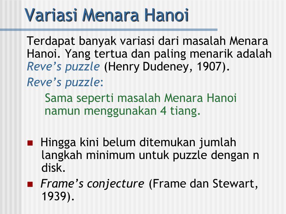 Variasi Menara Hanoi Terdapat banyak variasi dari masalah Menara Hanoi. Yang tertua dan paling menarik adalah Reve's puzzle (Henry Dudeney, 1907). Rev