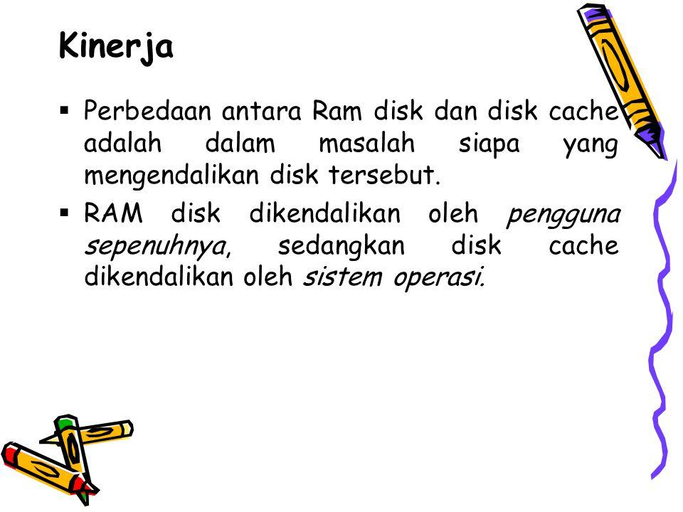 Kinerja  Perbedaan antara Ram disk dan disk cache adalah dalam masalah siapa yang mengendalikan disk tersebut.  RAM disk dikendalikan oleh pengguna