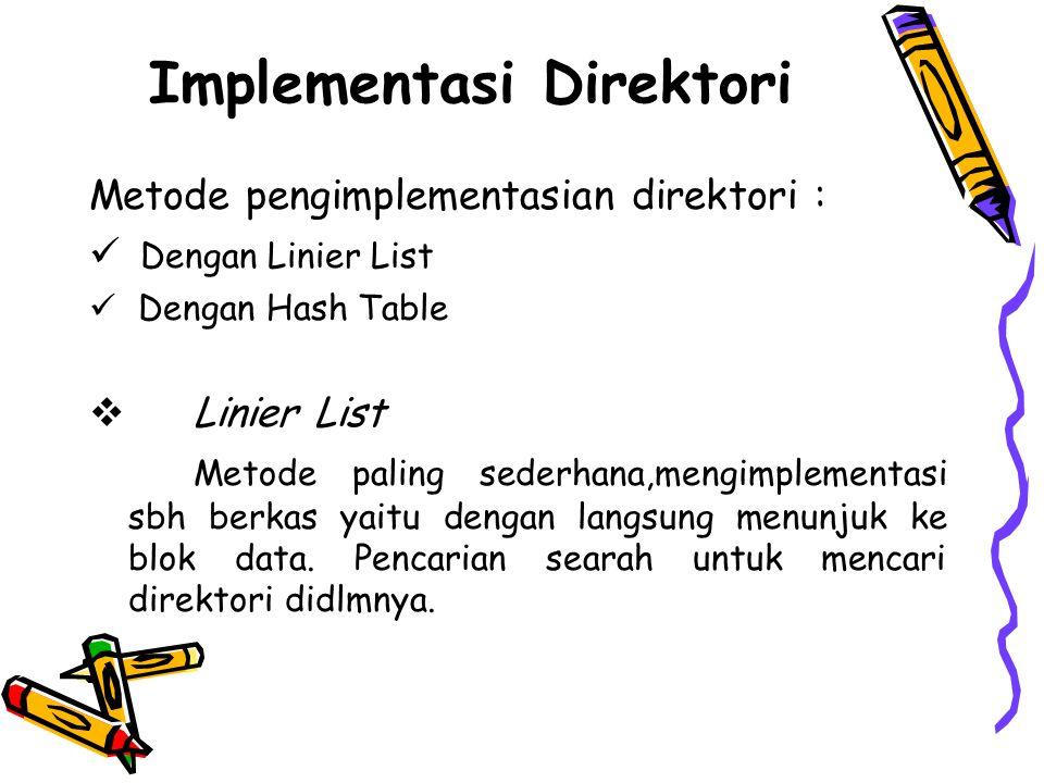 Implementasi Direktori Metode pengimplementasian direktori :  Dengan Linier List  Dengan Hash Table  Linier List Metode paling sederhana,mengimplem