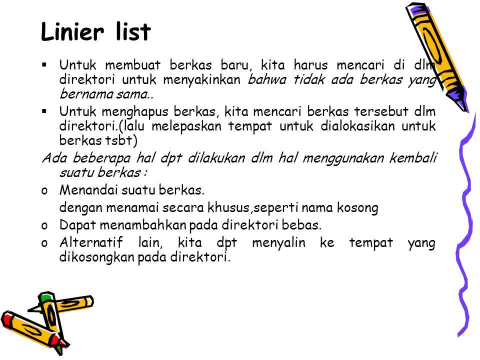 Linier list  Untuk membuat berkas baru, kita harus mencari di dlm direktori untuk menyakinkan bahwa tidak ada berkas yang bernama sama..  Untuk meng