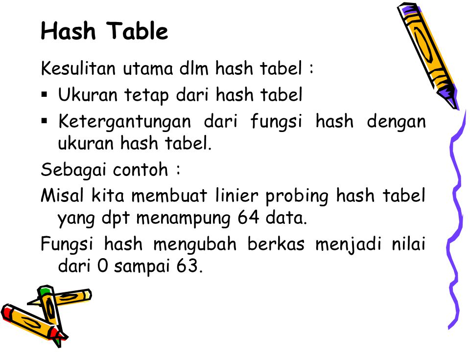 Hash Table Kesulitan utama dlm hash tabel :  Ukuran tetap dari hash tabel  Ketergantungan dari fungsi hash dengan ukuran hash tabel. Sebagai contoh