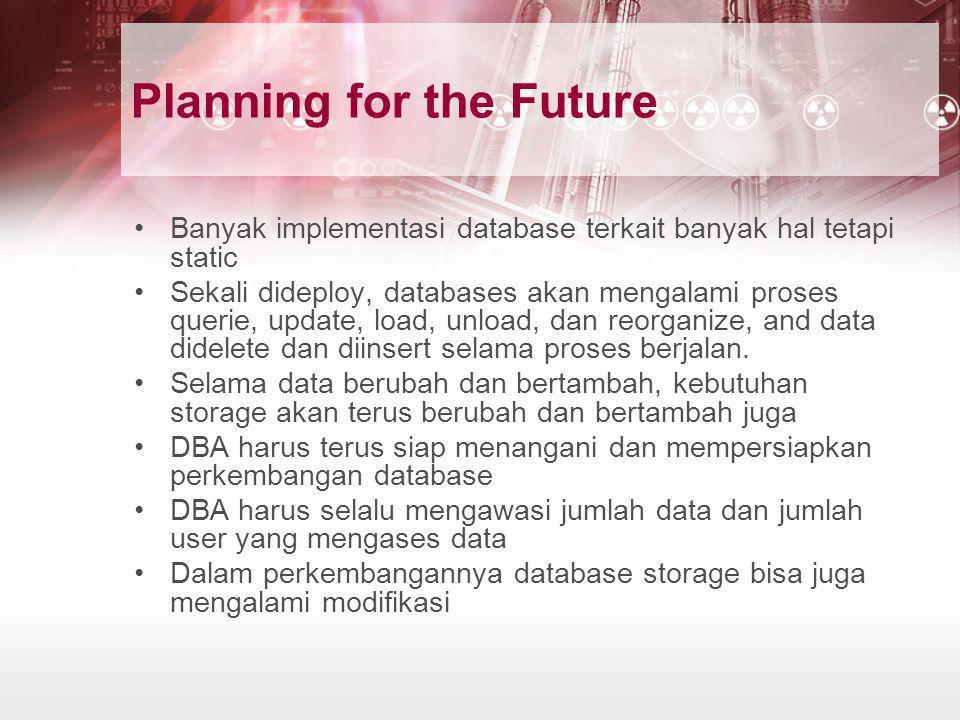 Planning for the Future •Banyak implementasi database terkait banyak hal tetapi static •Sekali dideploy, databases akan mengalami proses querie, updat
