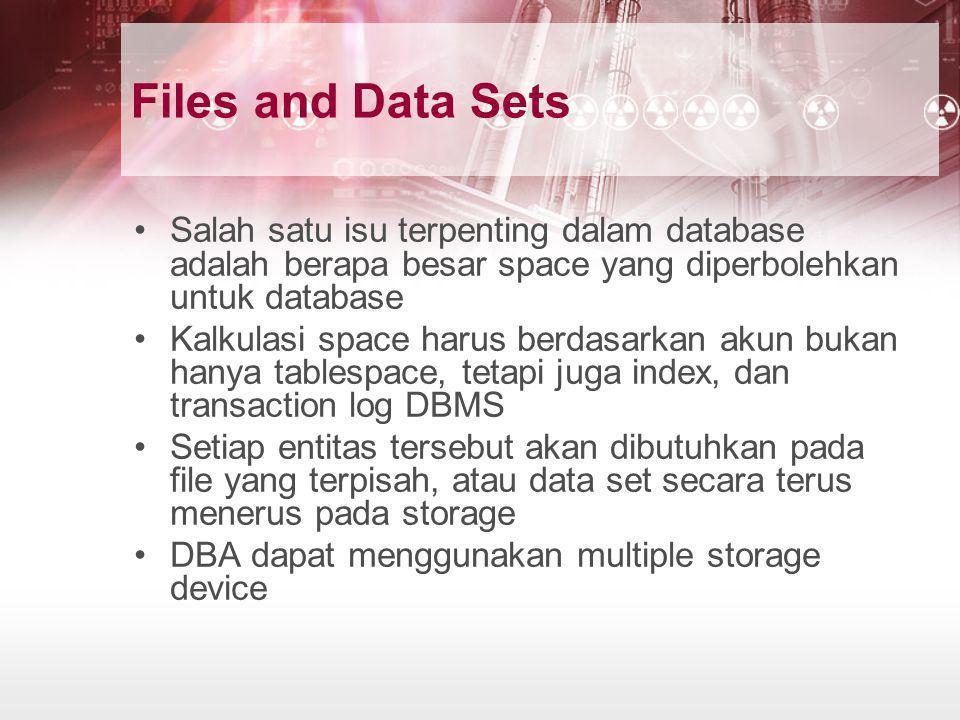 Files and Data Sets •Salah satu isu terpenting dalam database adalah berapa besar space yang diperbolehkan untuk database •Kalkulasi space harus berda