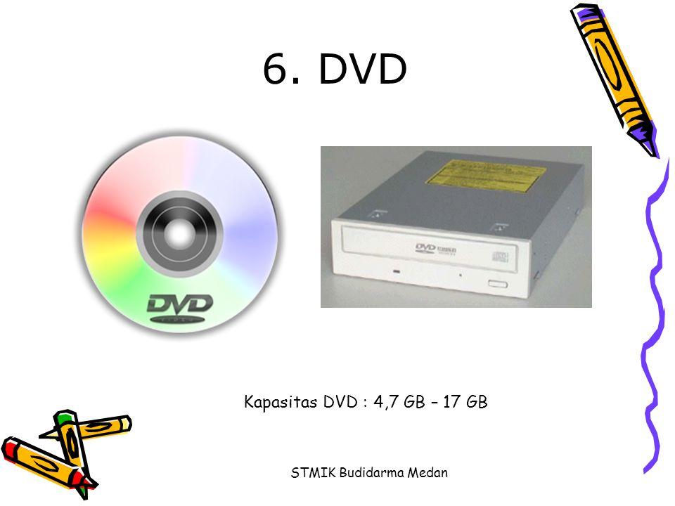 STMIK Budidarma Medan 6. DVD Kapasitas DVD : 4,7 GB – 17 GB