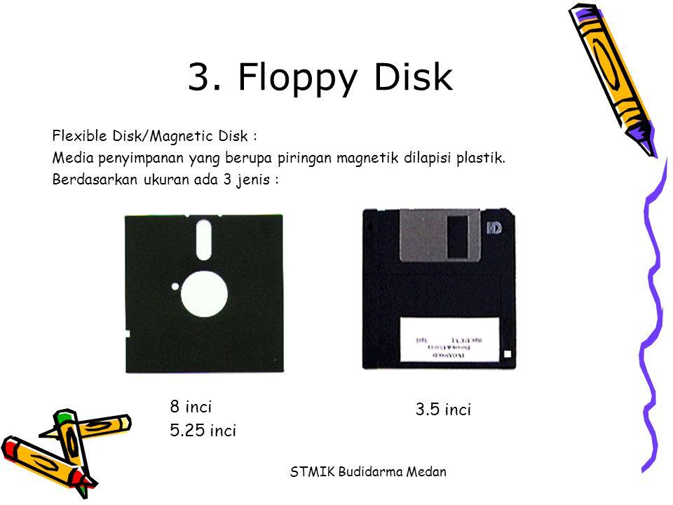 STMIK Budidarma Medan 3. Floppy Disk Flexible Disk/Magnetic Disk : Media penyimpanan yang berupa piringan magnetik dilapisi plastik. Berdasarkan ukura
