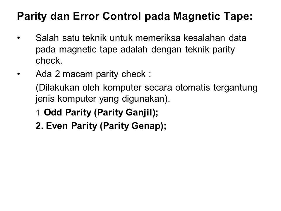 Parity dan Error Control pada Magnetic Tape: •Salah satu teknik untuk memeriksa kesalahan data pada magnetic tape adalah dengan teknik parity check. •