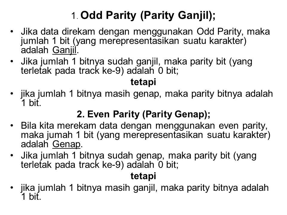 1. Odd Parity (Parity Ganjil); •Jika data direkam dengan menggunakan Odd Parity, maka jumlah 1 bit (yang merepresentasikan suatu karakter) adalah Ganj