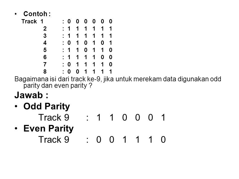 •Contoh : Track 1: 0 0 0 0 0 0 2: 1 1 1 1 1 1 3: 1 1 1 1 1 1 4: 0 1 0 1 0 1 5: 1 1 0 1 1 0 6: 1 1 1 1 0 0 7: 0 1 1 1 1 0 8: 0 0 1 1 1 1 Bagaimana isi dari track ke-9, jika untuk merekam data digunakan odd parity dan even parity .