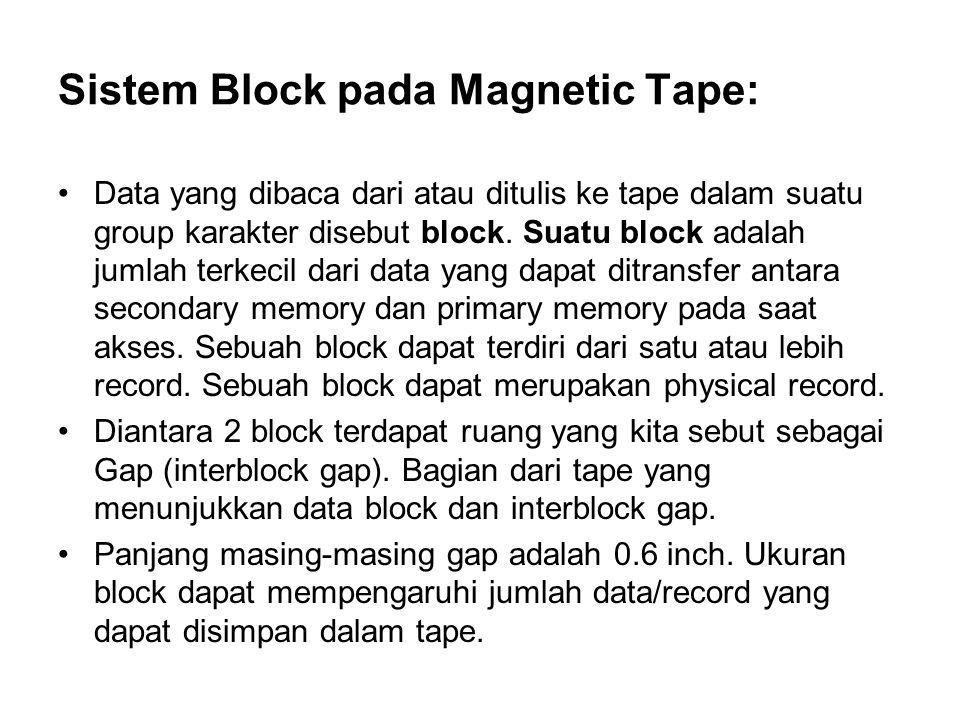 Sistem Block pada Magnetic Tape: •Data yang dibaca dari atau ditulis ke tape dalam suatu group karakter disebut block. Suatu block adalah jumlah terke
