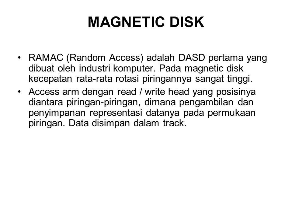 MAGNETIC DISK •RAMAC (Random Access) adalah DASD pertama yang dibuat oleh industri komputer. Pada magnetic disk kecepatan rata-rata rotasi piringannya