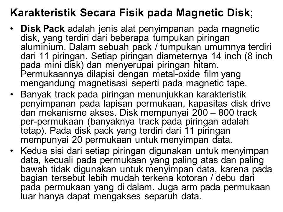 Karakteristik Secara Fisik pada Magnetic Disk; •Disk Pack adalah jenis alat penyimpanan pada magnetic disk, yang terdiri dari beberapa tumpukan piring