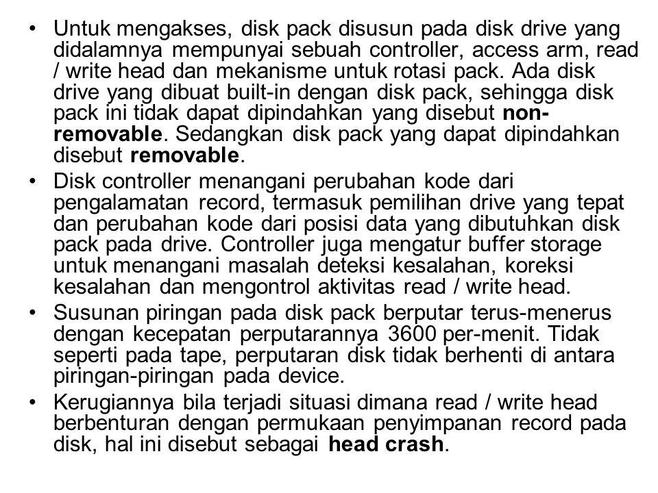 •Untuk mengakses, disk pack disusun pada disk drive yang didalamnya mempunyai sebuah controller, access arm, read / write head dan mekanisme untuk rot