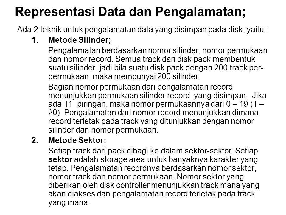 Representasi Data dan Pengalamatan; Ada 2 teknik untuk pengalamatan data yang disimpan pada disk, yaitu : 1.Metode Silinder; Pengalamatan berdasarkan nomor silinder, nomor permukaan dan nomor record.