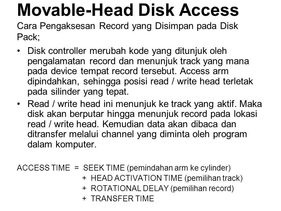 Movable-Head Disk Access Cara Pengaksesan Record yang Disimpan pada Disk Pack; •Disk controller merubah kode yang ditunjuk oleh pengalamatan record dan menunjuk track yang mana pada device tempat record tersebut.