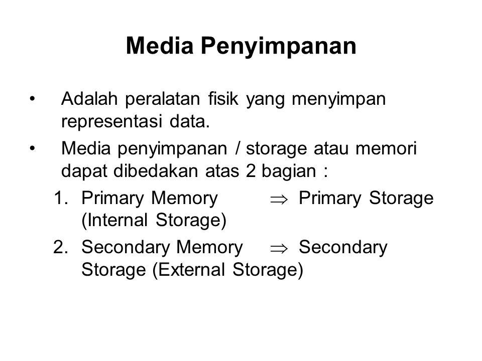 Media Penyimpanan •Adalah peralatan fisik yang menyimpan representasi data. •Media penyimpanan / storage atau memori dapat dibedakan atas 2 bagian : 1