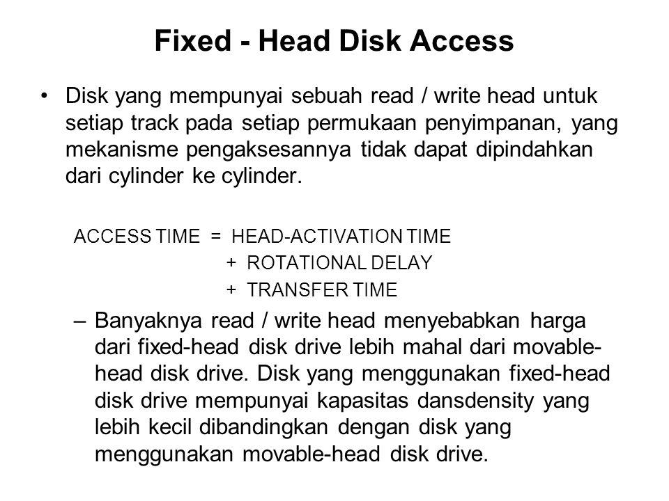 Fixed - Head Disk Access •Disk yang mempunyai sebuah read / write head untuk setiap track pada setiap permukaan penyimpanan, yang mekanisme pengaksesa