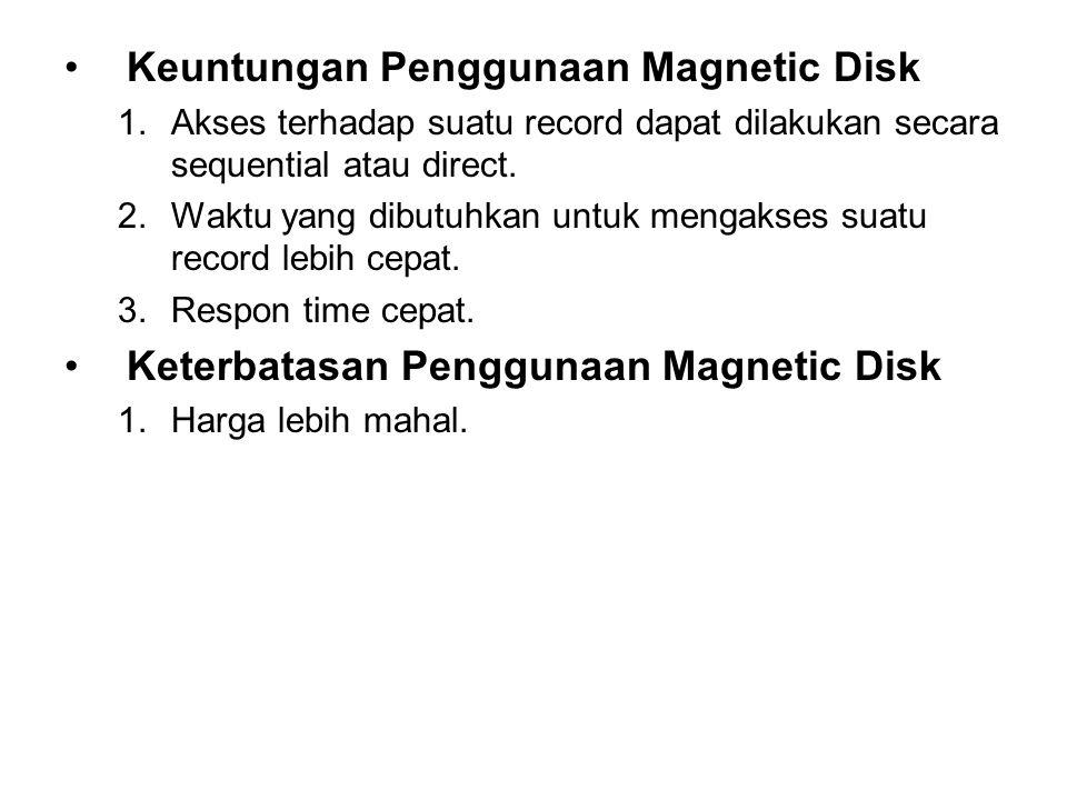 •Keuntungan Penggunaan Magnetic Disk 1.Akses terhadap suatu record dapat dilakukan secara sequential atau direct. 2.Waktu yang dibutuhkan untuk mengak