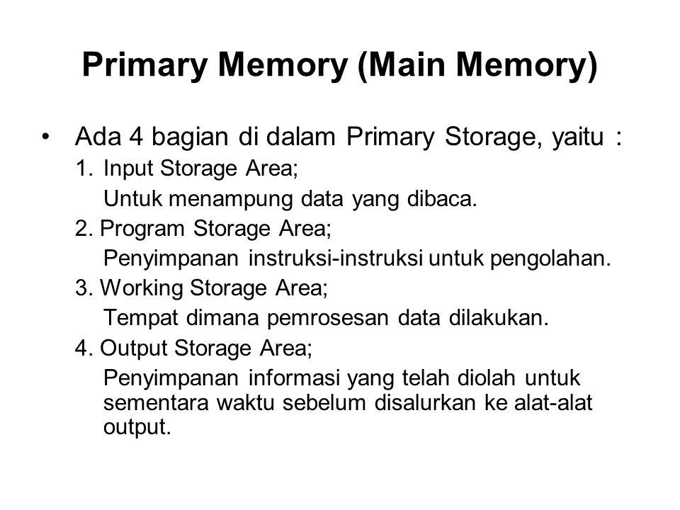 Primary Memory Komputer terdiri atas 2 bagian : 1.RAM (Random Access Memory); Bagian dari main memory yang dapat kita isi dengan data atau program dari disket atau sumber lain.