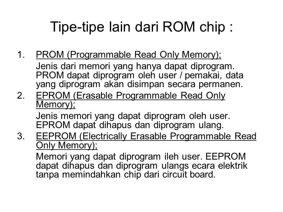 Tipe-tipe lain dari ROM chip : 1.PROM (Programmable Read Only Memory); Jenis dari memori yang hanya dapat diprogram. PROM dapat diprogram oleh user /