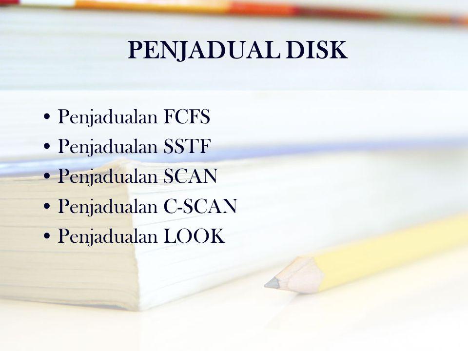 PENJADUAL DISK •Penjadualan FCFS •Penjadualan SSTF •Penjadualan SCAN •Penjadualan C-SCAN •Penjadualan LOOK