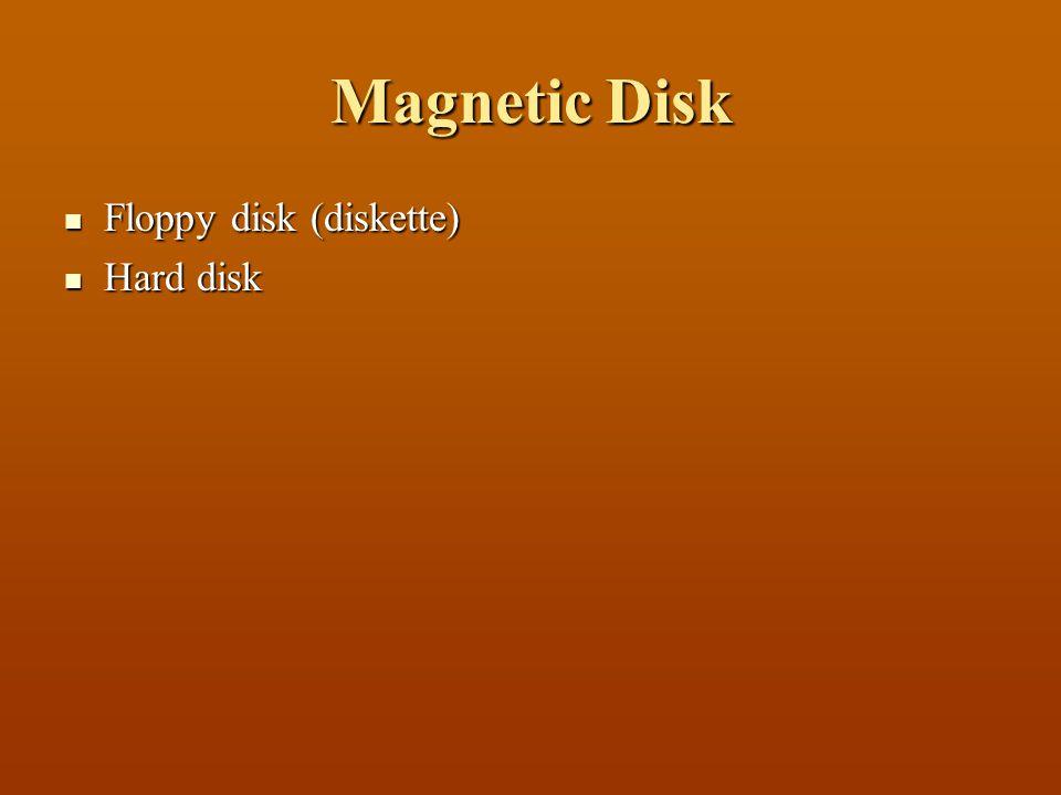 Magnetic Disk  Floppy disk (diskette)  Hard disk