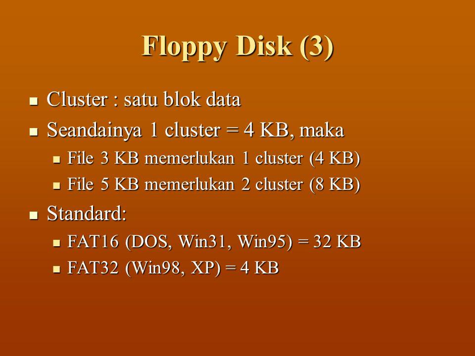 Floppy Disk (3)  Cluster : satu blok data  Seandainya 1 cluster = 4 KB, maka  File 3 KB memerlukan 1 cluster (4 KB)  File 5 KB memerlukan 2 cluste