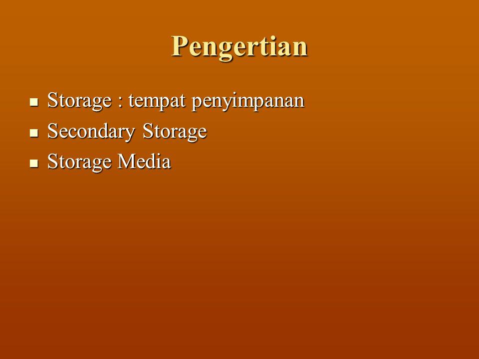 Pengertian  Storage : tempat penyimpanan  Secondary Storage  Storage Media
