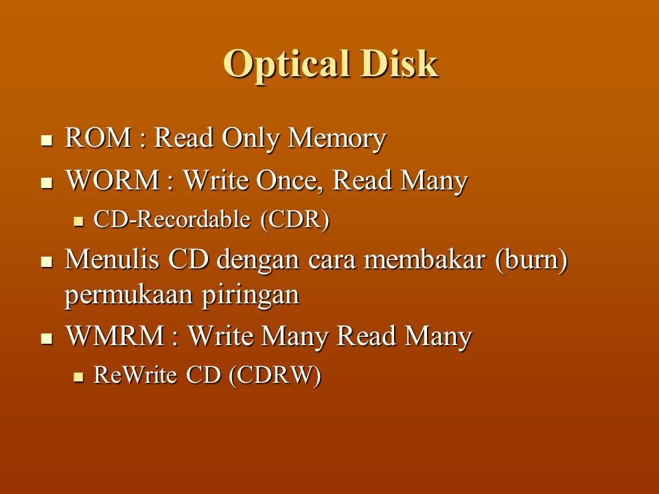  ROM : Read Only Memory  WORM : Write Once, Read Many  CD-Recordable (CDR)  Menulis CD dengan cara membakar (burn) permukaan piringan  WMRM : Write Many Read Many  ReWrite CD (CDRW)