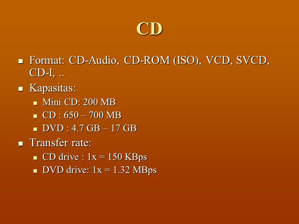 CD  Format: CD-Audio, CD-ROM (ISO), VCD, SVCD, CD-I,..  Kapasitas:  Mini CD: 200 MB  CD : 650 – 700 MB  DVD : 4.7 GB – 17 GB  Transfer rate:  C
