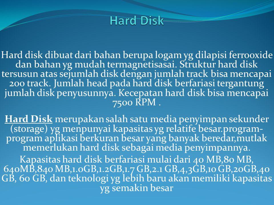 Hard disk dibuat dari bahan berupa logam yg dilapisi ferrooxide dan bahan yg mudah termagnetisasai.