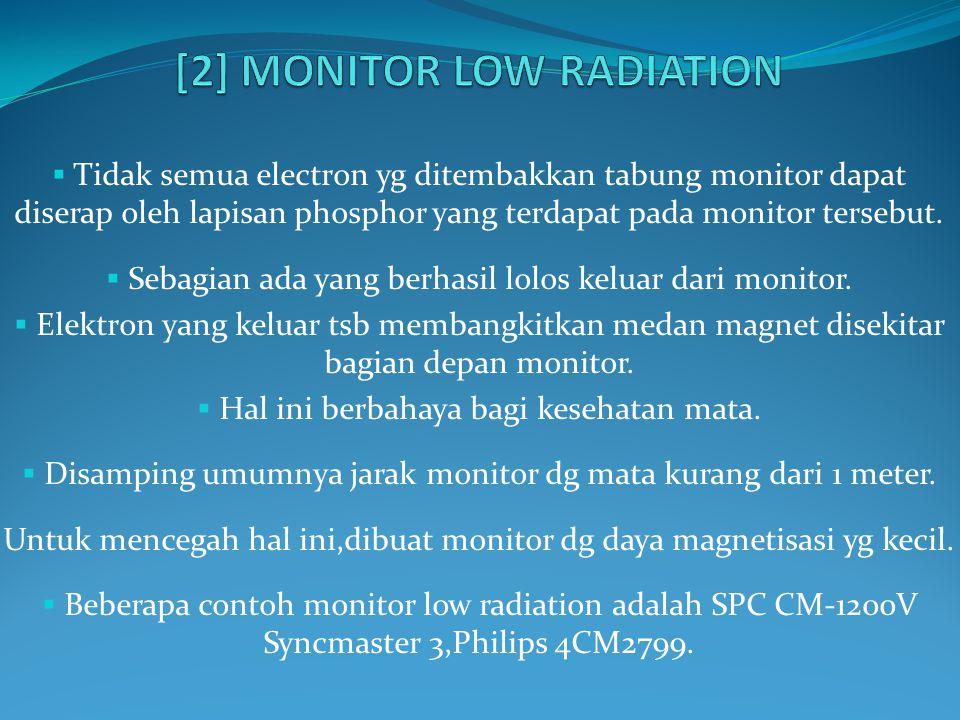  Tidak semua electron yg ditembakkan tabung monitor dapat diserap oleh lapisan phosphor yang terdapat pada monitor tersebut.