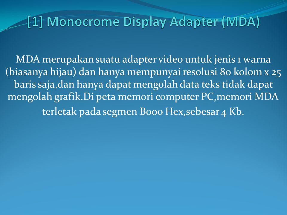 MDA merupakan suatu adapter video untuk jenis 1 warna (biasanya hijau) dan hanya mempunyai resolusi 80 kolom x 25 baris saja,dan hanya dapat mengolah data teks tidak dapat mengolah grafik.Di peta memori computer PC,memori MDA terletak pada segmen B000 Hex,sebesar 4 Kb.