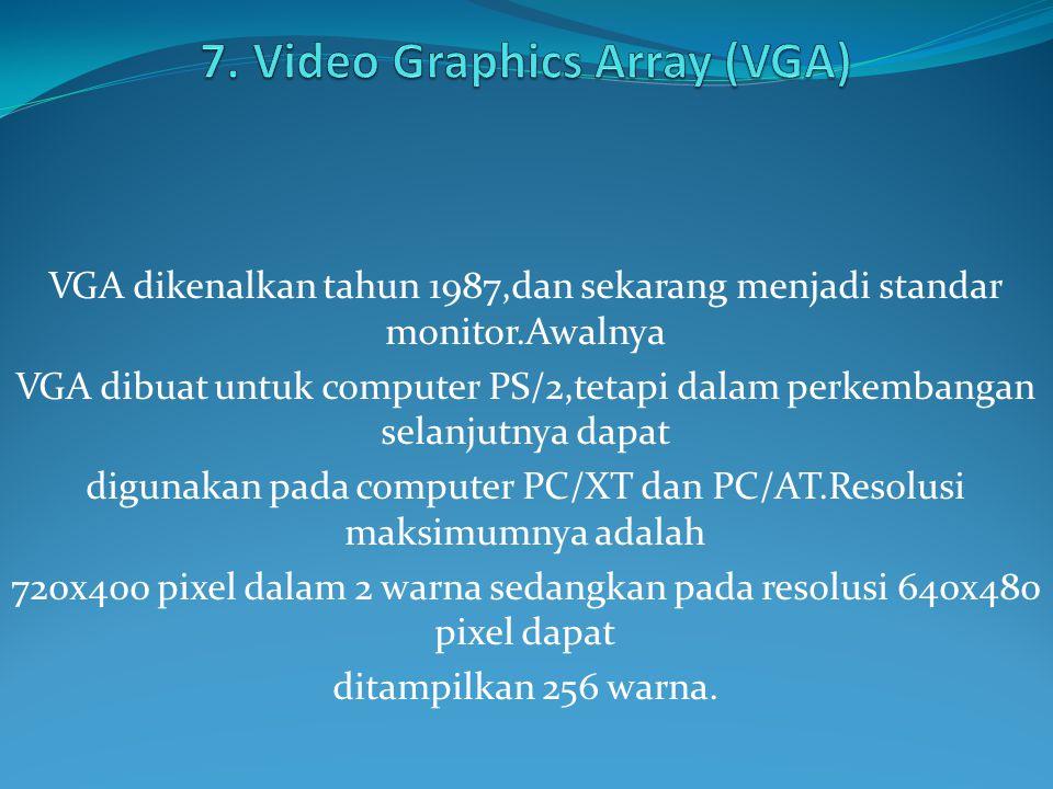 VGA dikenalkan tahun 1987,dan sekarang menjadi standar monitor.Awalnya VGA dibuat untuk computer PS/2,tetapi dalam perkembangan selanjutnya dapat digunakan pada computer PC/XT dan PC/AT.Resolusi maksimumnya adalah 720x400 pixel dalam 2 warna sedangkan pada resolusi 640x480 pixel dapat ditampilkan 256 warna.