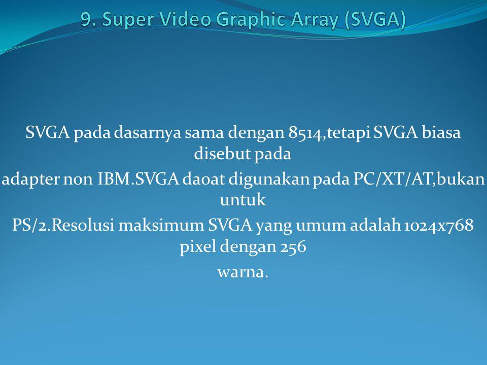 SVGA pada dasarnya sama dengan 8514,tetapi SVGA biasa disebut pada adapter non IBM.SVGA daoat digunakan pada PC/XT/AT,bukan untuk PS/2.Resolusi maksimum SVGA yang umum adalah 1024x768 pixel dengan 256 warna.
