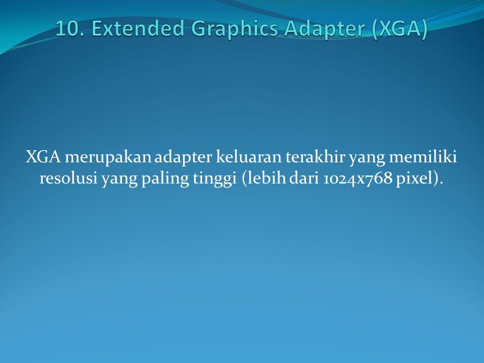 XGA merupakan adapter keluaran terakhir yang memiliki resolusi yang paling tinggi (lebih dari 1024x768 pixel).