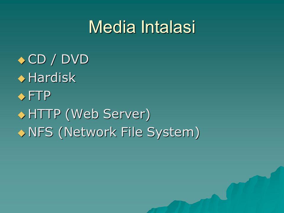Media Intalasi  CD / DVD  Hardisk  FTP  HTTP (Web Server)  NFS (Network File System)