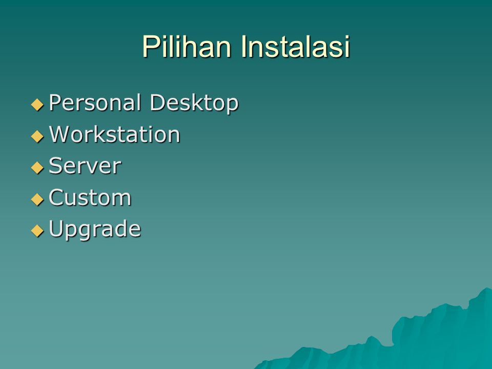 Partisi Disk  Automatic Partitioning  Remove All Partitions on this system  Keep All partition and use existing free space  Manually Partitioning whit Disk Druid