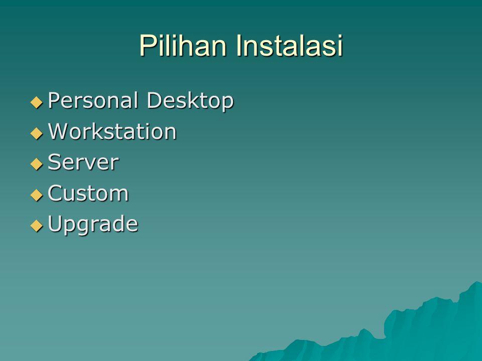 Pilihan Instalasi  Personal Desktop  Workstation  Server  Custom  Upgrade