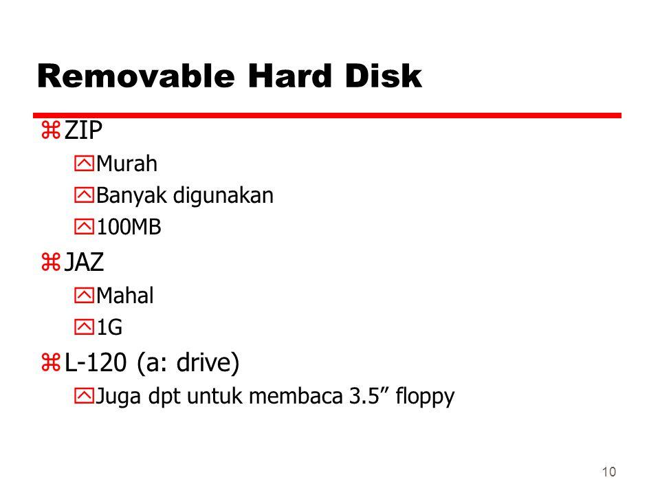 "10 Removable Hard Disk zZIP yMurah yBanyak digunakan y100MB zJAZ yMahal y1G zL-120 (a: drive) yJuga dpt untuk membaca 3.5"" floppy"