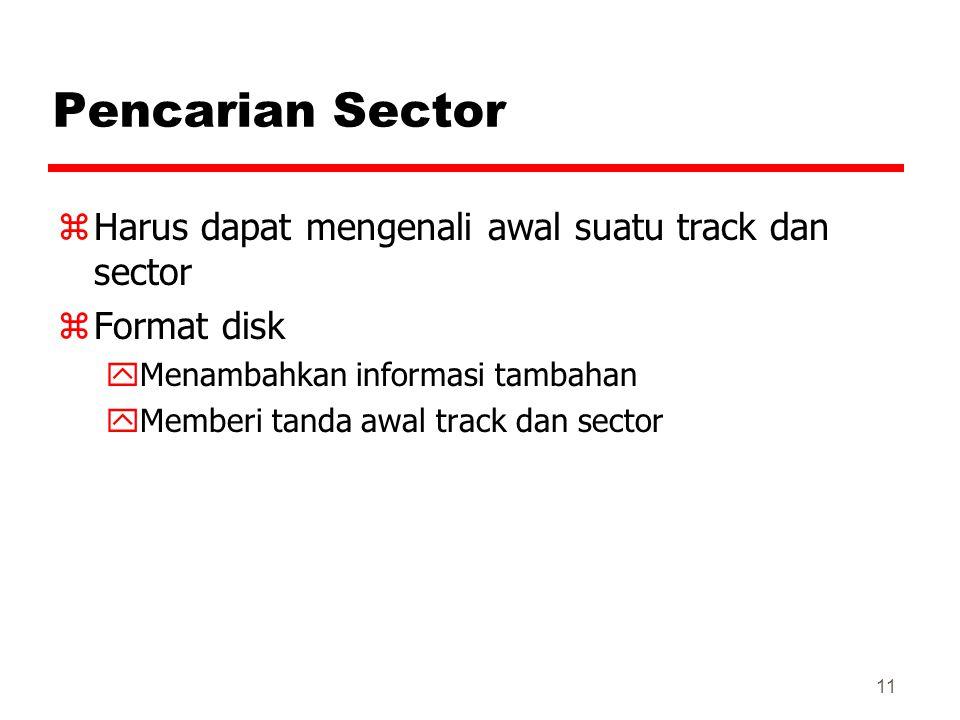 11 Pencarian Sector zHarus dapat mengenali awal suatu track dan sector zFormat disk yMenambahkan informasi tambahan yMemberi tanda awal track dan sect